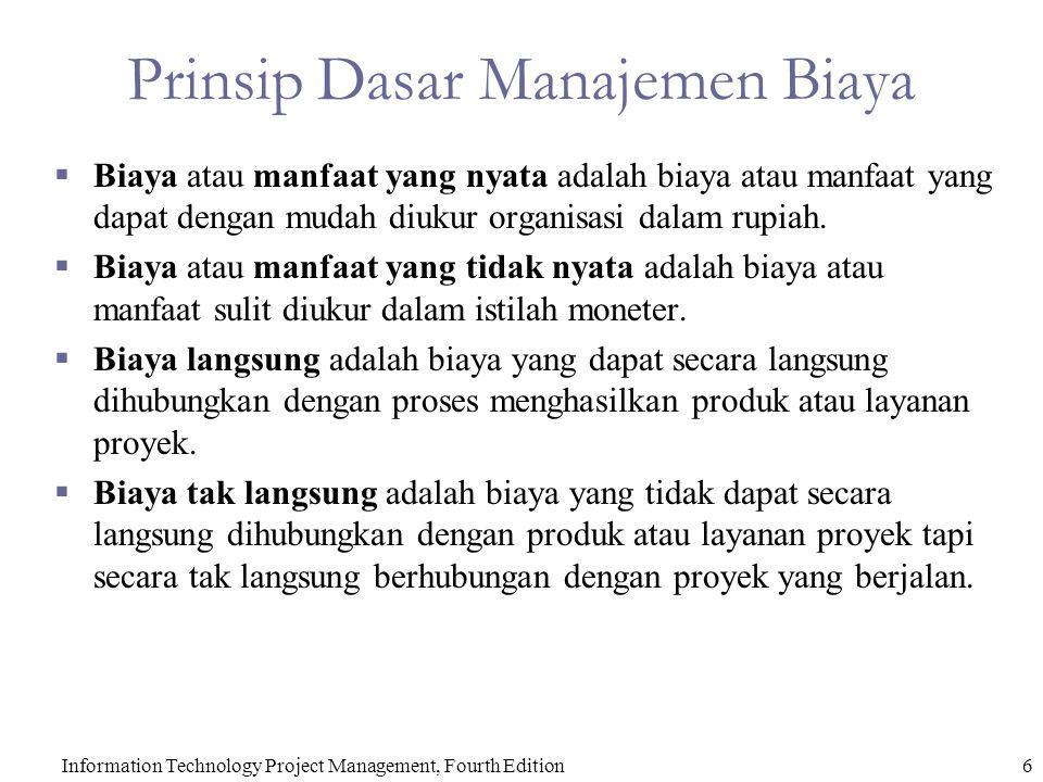 6Information Technology Project Management, Fourth Edition Prinsip Dasar Manajemen Biaya  Biaya atau manfaat yang nyata adalah biaya atau manfaat yang dapat dengan mudah diukur organisasi dalam rupiah.