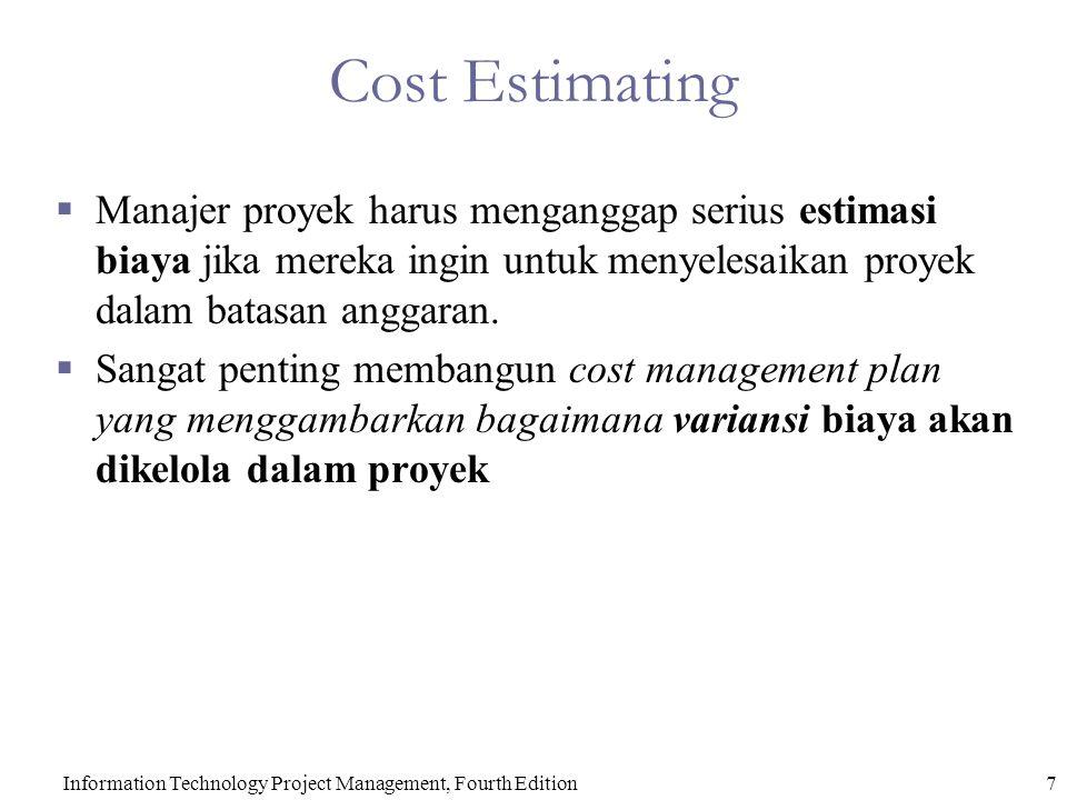 7Information Technology Project Management, Fourth Edition Cost Estimating  Manajer proyek harus menganggap serius estimasi biaya jika mereka ingin untuk menyelesaikan proyek dalam batasan anggaran.