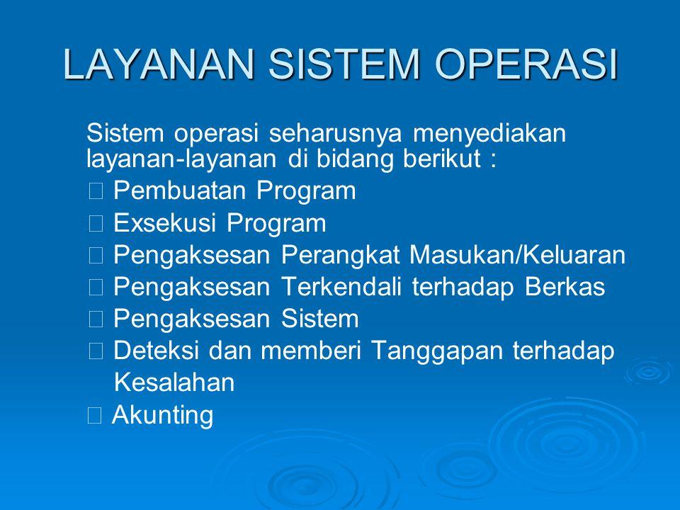 LAYANAN SISTEM OPERASI Sistem operasi seharusnya menyediakan layanan-layanan di bidang berikut :  Pembuatan Program  Exsekusi Program  Pengaksesan Perangkat Masukan/Keluaran  Pengaksesan Terkendali terhadap Berkas  Pengaksesan Sistem  Deteksi dan memberi Tanggapan terhadap Kesalahan  Akunting
