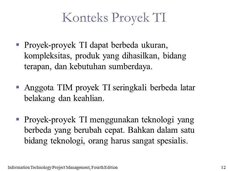 Information Technology Project Management, Fourth Edition12 Konteks Proyek TI  Proyek-proyek TI dapat berbeda ukuran, kompleksitas, produk yang dihas
