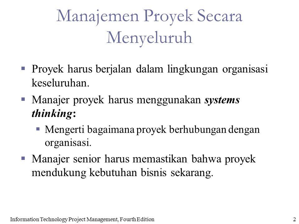 2 Manajemen Proyek Secara Menyeluruh  Proyek harus berjalan dalam lingkungan organisasi keseluruhan.  Manajer proyek harus menggunakan systems think