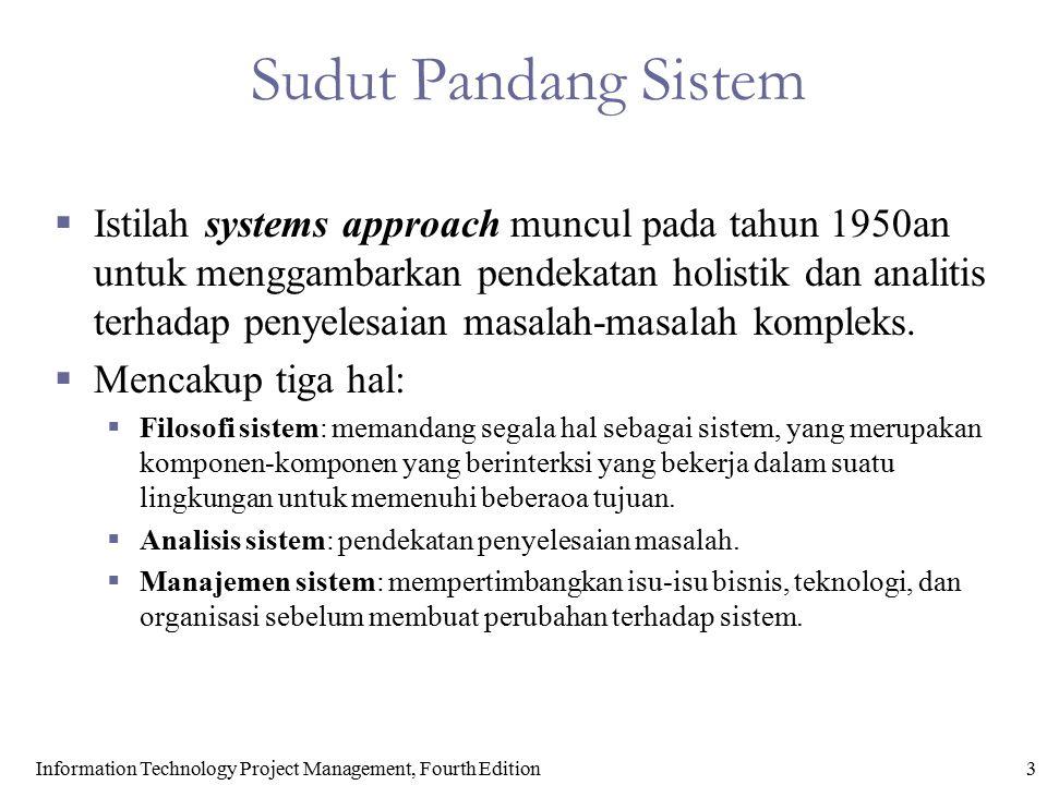 Information Technology Project Management, Fourth Edition3 Sudut Pandang Sistem  Istilah systems approach muncul pada tahun 1950an untuk menggambarka