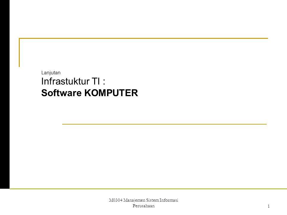 M0304 Manajemen Sistem Informasi Perusahaan1 Lanjutan Infrastuktur TI : Software KOMPUTER