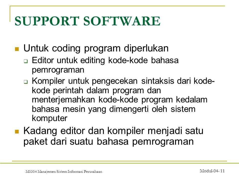 M0304 Manajemen Sistem Informasi Perusahaan Modul-04- 11 Untuk coding program diperlukan  Editor untuk editing kode-kode bahasa pemrograman  Kompiler untuk pengecekan sintaksis dari kode- kode perintah dalam program dan menterjemahkan kode-kode program kedalam bahasa mesin yang dimengerti oleh sistem komputer Kadang editor dan kompiler menjadi satu paket dari suatu bahasa pemrograman SUPPORT SOFTWARE