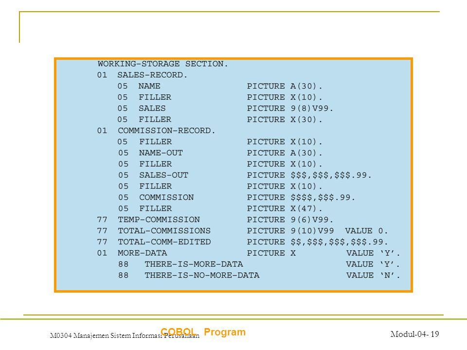 M0304 Manajemen Sistem Informasi Perusahaan Modul-04- 19 COBOL Program