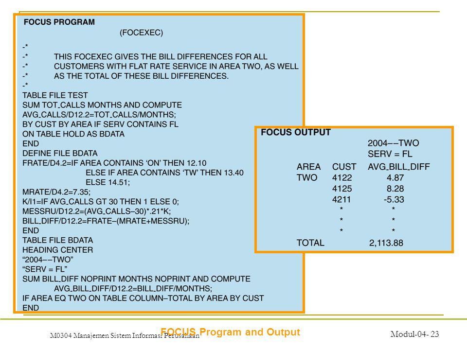 M0304 Manajemen Sistem Informasi Perusahaan Modul-04- 23 FOCUS Program and Output