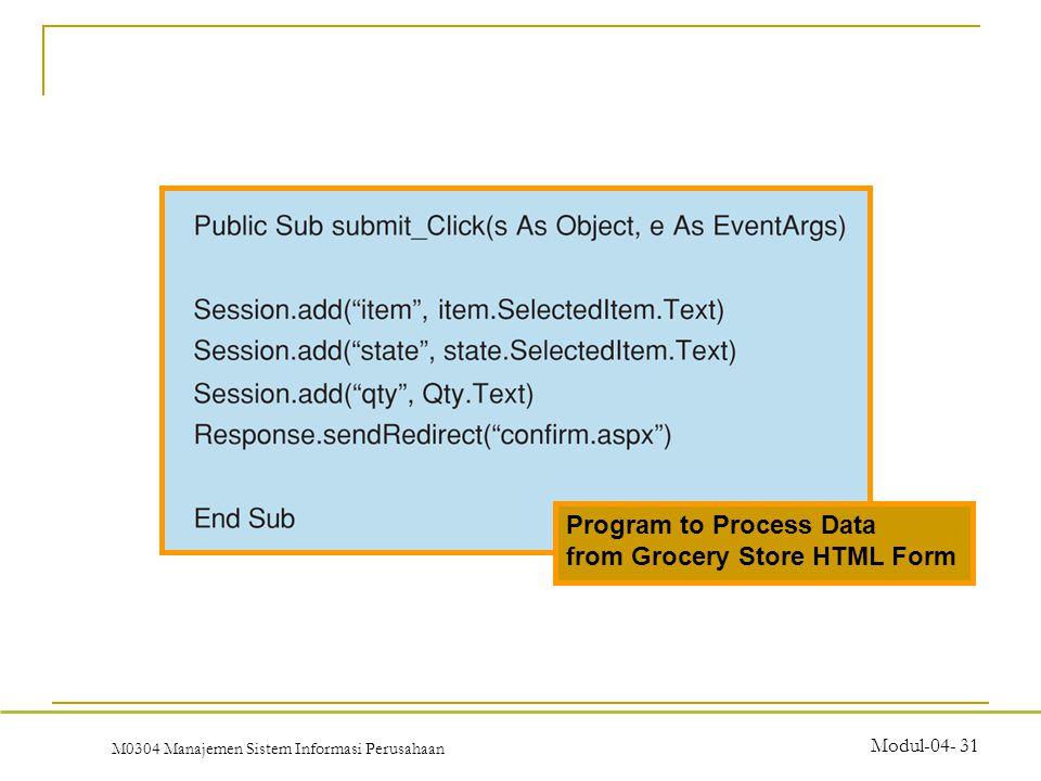 M0304 Manajemen Sistem Informasi Perusahaan Modul-04- 31 Program to Process Data from Grocery Store HTML Form