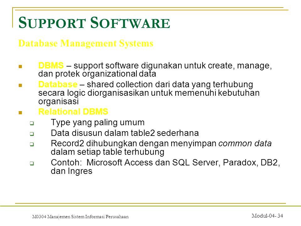 M0304 Manajemen Sistem Informasi Perusahaan Modul-04- 34 DBMS – support software digunakan untuk create, manage, dan protek organizational data Database – shared collection dari data yang terhubung secara logic diorganisasikan untuk memenuhi kebutuhan organisasi Relational DBMS  Type yang paling umum  Data disusun dalam table2 sederhana  Record2 dihubungkan dengan menyimpan common data dalam setiap table terhubung  Contoh: Microsoft Access dan SQL Server, Paradox, DB2, dan Ingres S UPPORT S OFTWARE Database Management Systems