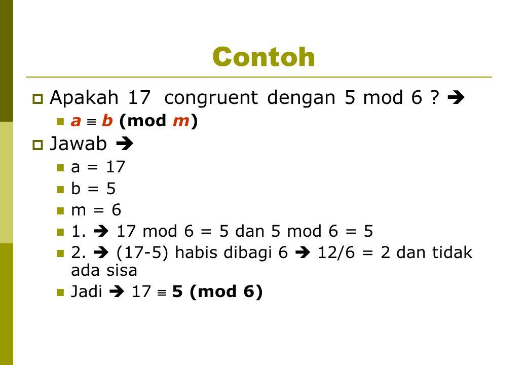 Contoh  Apakah 17 congruent dengan 5 mod 6 . a  b (mod m)  Jawab  a = 17 b = 5 m = 6 1.