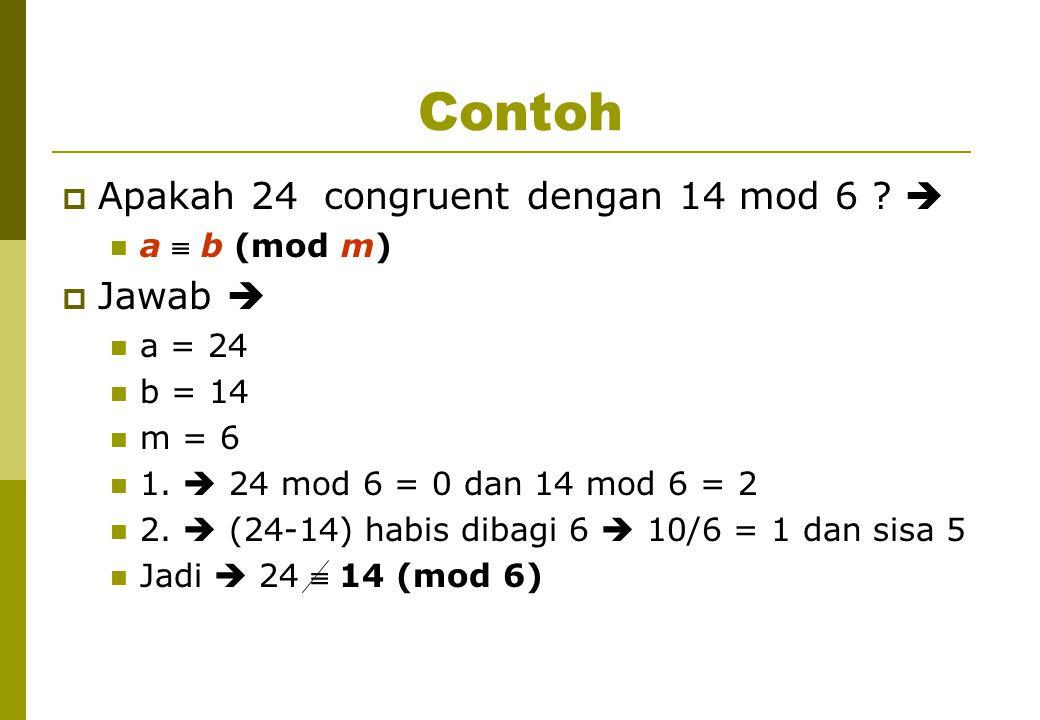 Contoh  Apakah 24 congruent dengan 14 mod 6 . a  b (mod m)  Jawab  a = 24 b = 14 m = 6 1.