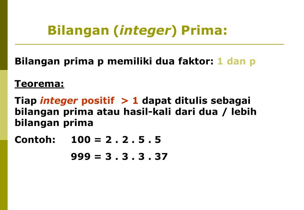 Bilangan prima p memiliki dua faktor: 1 dan p Teorema: Tiap integer positif > 1 dapat ditulis sebagai bilangan prima atau hasil-kali dari dua / lebih bilangan prima Contoh:100 = 2.