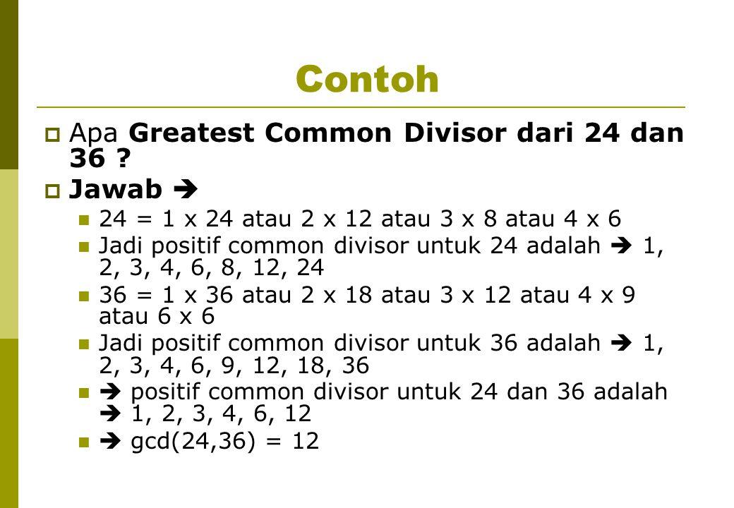 Contoh  Apa Greatest Common Divisor dari 24 dan 36 .