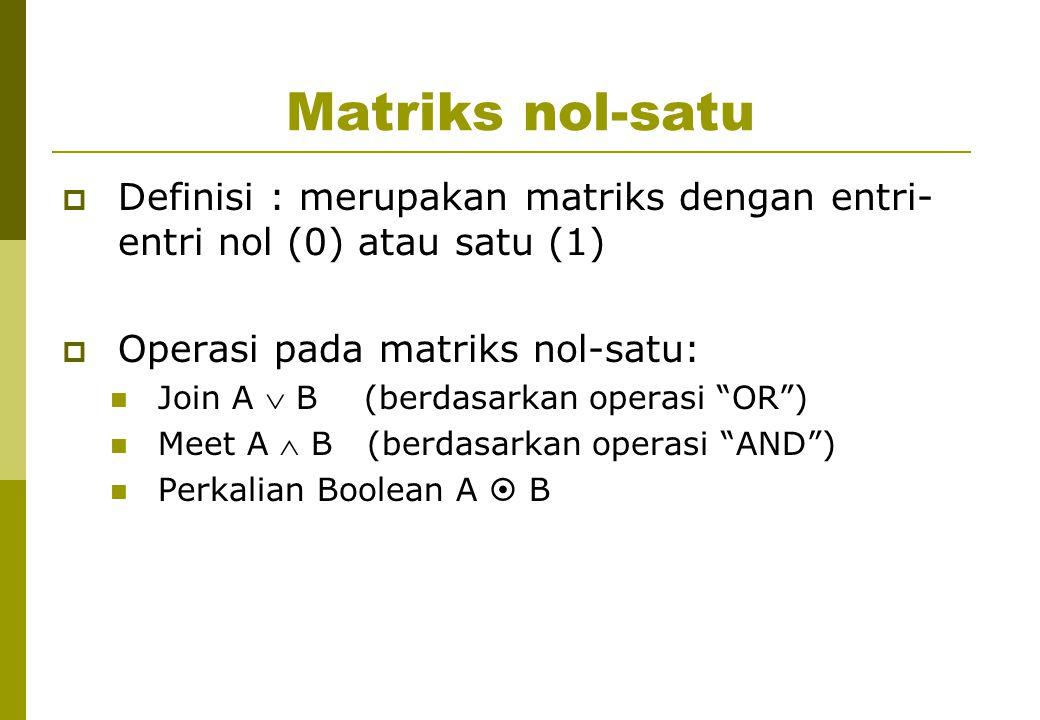 Matriks nol-satu  Definisi : merupakan matriks dengan entri- entri nol (0) atau satu (1)  Operasi pada matriks nol-satu: Join A  B (berdasarkan operasi OR ) Meet A  B (berdasarkan operasi AND ) Perkalian Boolean A  B