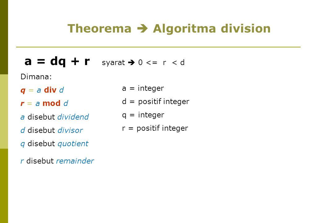 a = dq + r syarat  0 <= r < d Dimana: q = a div d r = a mod d a disebut dividend d disebut divisor q disebut quotient r disebut remainder Theorema  Algoritma division a = integer d = positif integer q = integer r = positif integer