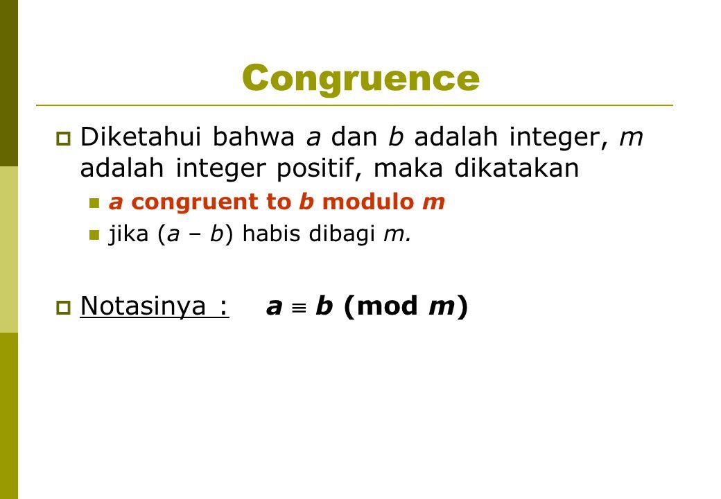 Congruence  Diketahui bahwa a dan b adalah integer, m adalah integer positif, maka dikatakan a congruent to b modulo m jika (a – b) habis dibagi m.