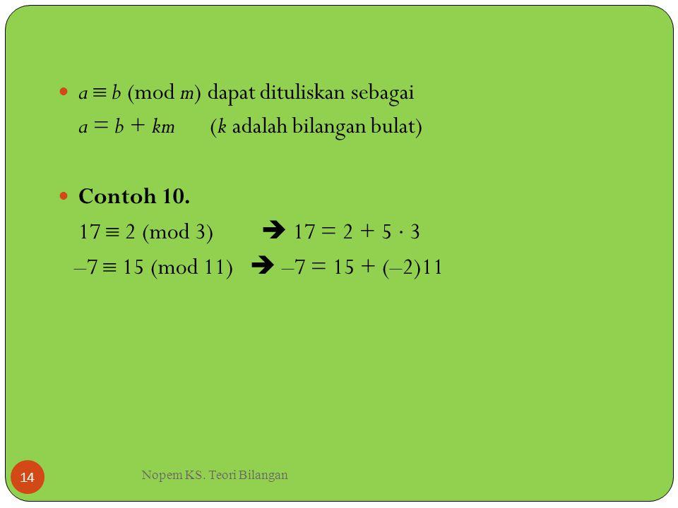 Nopem KS. Teori Bilangan 14 a  b (mod m) dapat dituliskan sebagai a = b + km (k adalah bilangan bulat) Contoh 10. 17  2 (mod 3)  17 = 2 + 5  3 –7