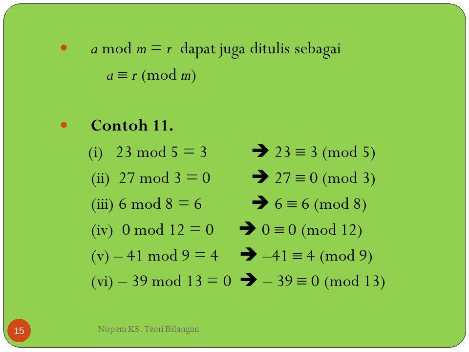 Nopem KS. Teori Bilangan 15 a mod m = r dapat juga ditulis sebagai a  r (mod m) Contoh 11. (i) 23 mod 5 = 3  23  3 (mod 5) (ii) 27 mod 3 = 0  27 