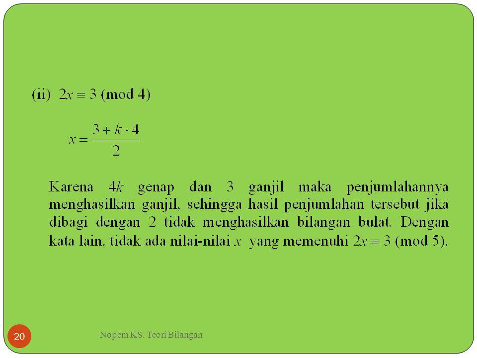 Nopem KS. Teori Bilangan 20