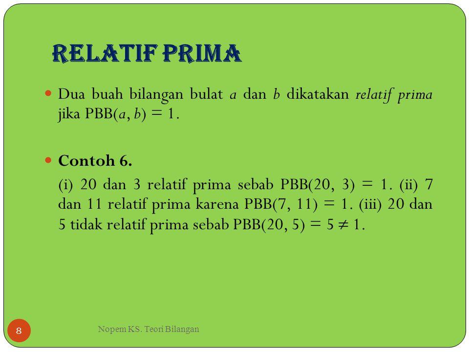 Relatif Prima Nopem KS. Teori Bilangan 8 Dua buah bilangan bulat a dan b dikatakan relatif prima jika PBB(a, b) = 1. Contoh 6. (i) 20 dan 3 relatif pr