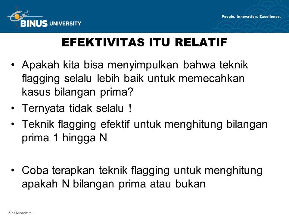 Bina Nusantara EFEKTIVITAS ITU RELATIF Apakah kita bisa menyimpulkan bahwa teknik flagging selalu lebih baik untuk memecahkan kasus bilangan prima.