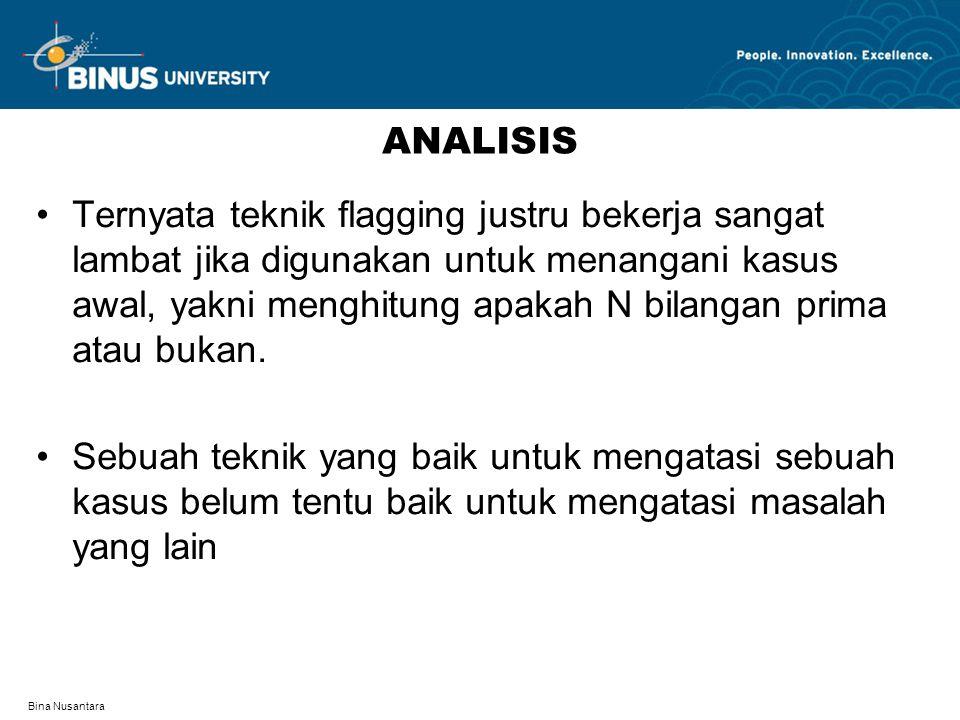 Bina Nusantara ANALISIS Ternyata teknik flagging justru bekerja sangat lambat jika digunakan untuk menangani kasus awal, yakni menghitung apakah N bilangan prima atau bukan.