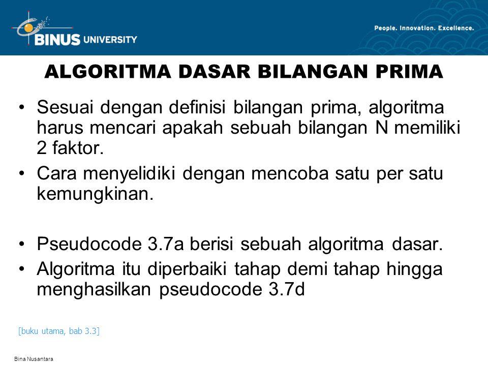 Bina Nusantara ALGORITMA DASAR BILANGAN PRIMA Sesuai dengan definisi bilangan prima, algoritma harus mencari apakah sebuah bilangan N memiliki 2 faktor.