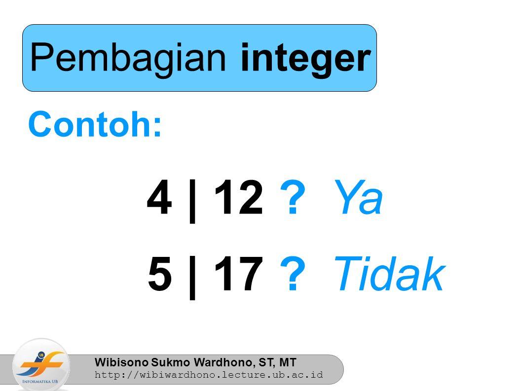 Wibisono Sukmo Wardhono, ST, MT http://wibiwardhono.lecture.ub.ac.id Teorema Euclidian m = nq + r m dan n adalah bilangan bulat dengan n > 0, jika m (dividend) dibagi n (divisor) menghasilkan bilangan bulat q (quotient) dan menyisakan bilangan bulat r (remainder), untuk 0  r < n