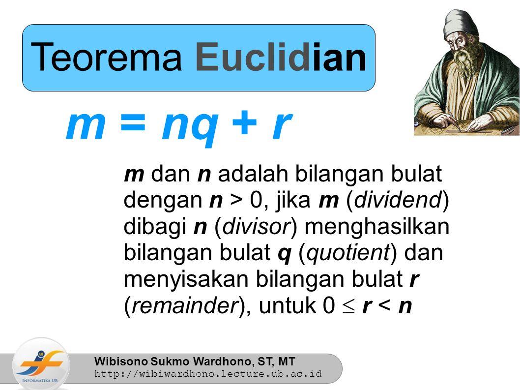Wibisono Sukmo Wardhono, ST, MT http://wibiwardhono.lecture.ub.ac.id Teorema Euclidian m = nq + r q = m div n r = m mod n