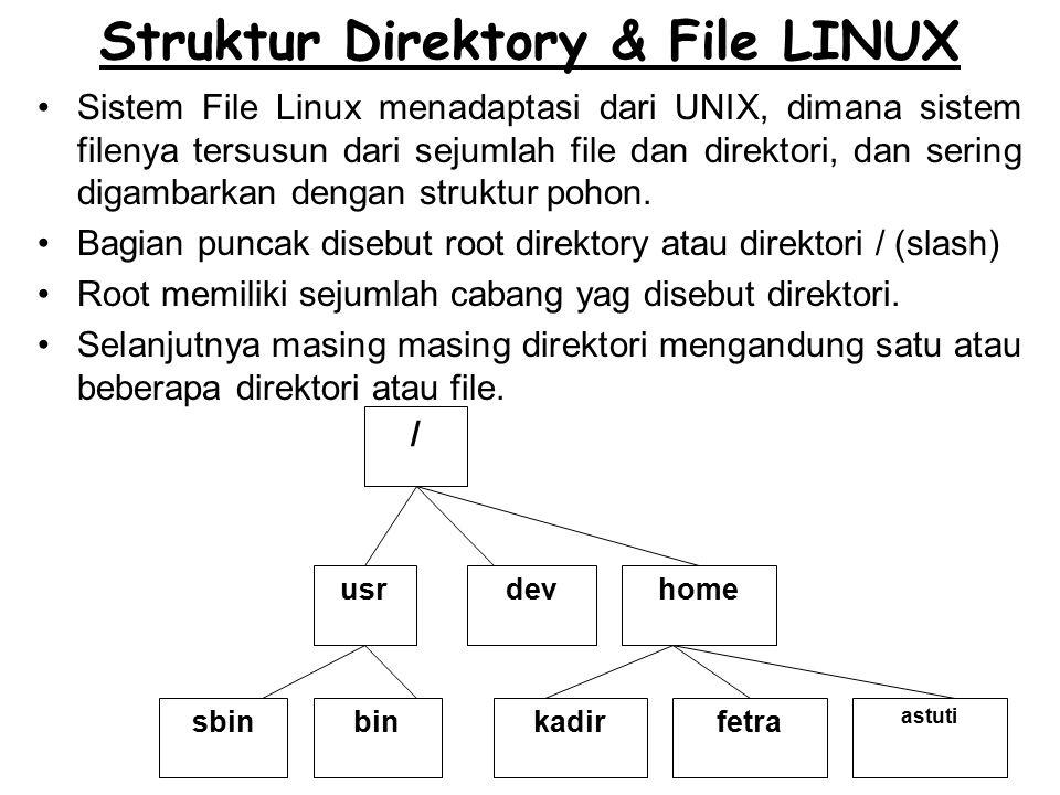 Struktur Direktory & File LINUX Sistem File Linux menadaptasi dari UNIX, dimana sistem filenya tersusun dari sejumlah file dan direktori, dan sering digambarkan dengan struktur pohon.