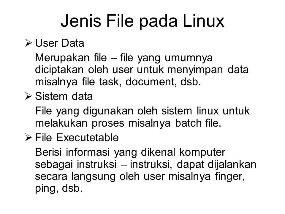 Jenis File pada Linux  User Data Merupakan file – file yang umumnya diciptakan oleh user untuk menyimpan data misalnya file task, document, dsb.