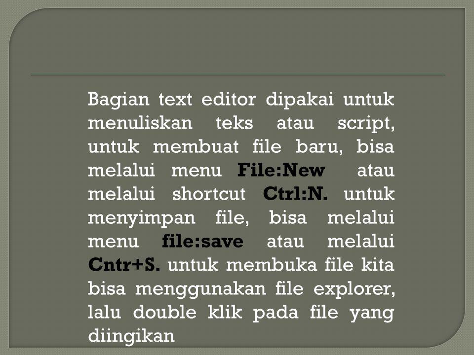 Bagian text editor dipakai untuk menuliskan teks atau script, untuk membuat file baru, bisa melalui menu File:New atau melalui shortcut Ctrl:N.