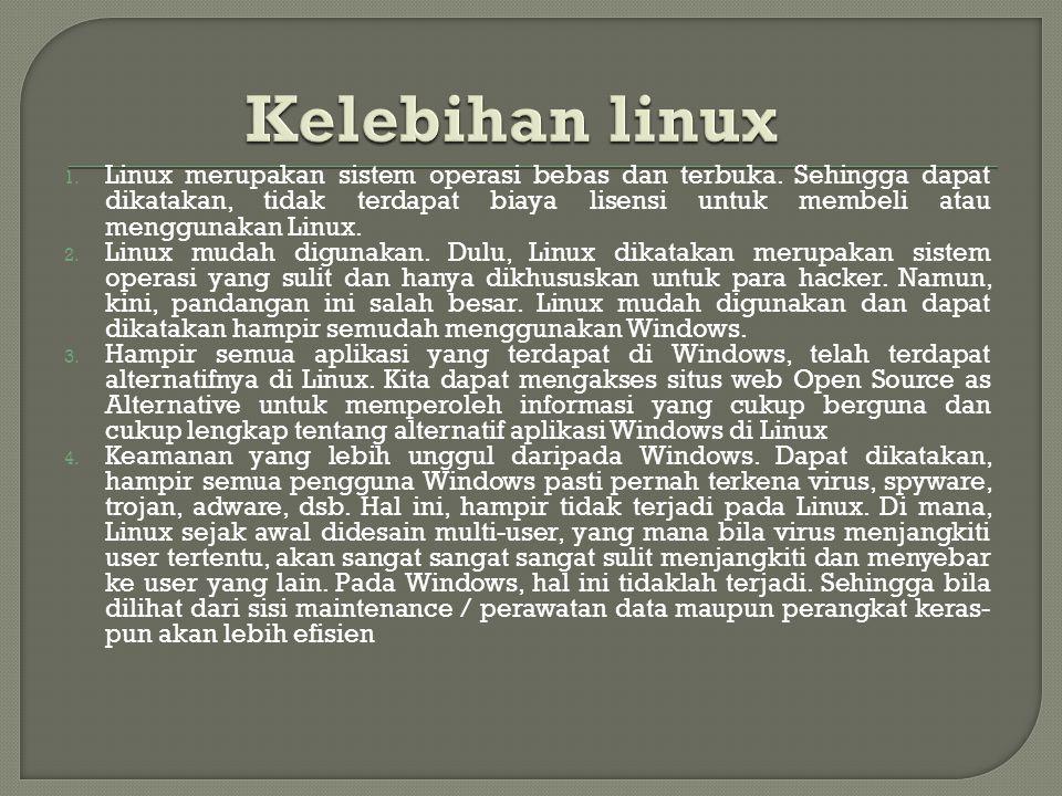 1. Linux merupakan sistem operasi bebas dan terbuka.