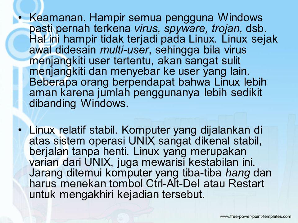 Keamanan.Hampir semua pengguna Windows pasti pernah terkena virus, spyware, trojan, dsb.