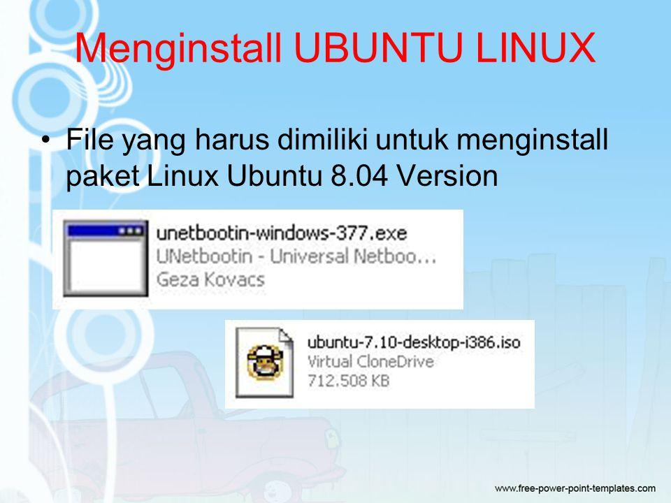Menginstall UBUNTU LINUX File yang harus dimiliki untuk menginstall paket Linux Ubuntu 8.04 Version