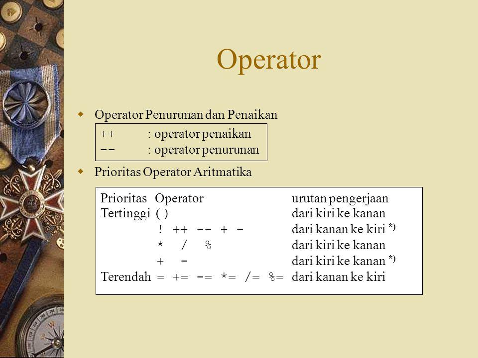 Operator  Operator Penurunan dan Penaikan  Prioritas Operator Aritmatika ++ : operator penaikan -- : operator penurunan Prioritas Operatorurutan pengerjaan Tertinggi ( ) dari kiri ke kanan .