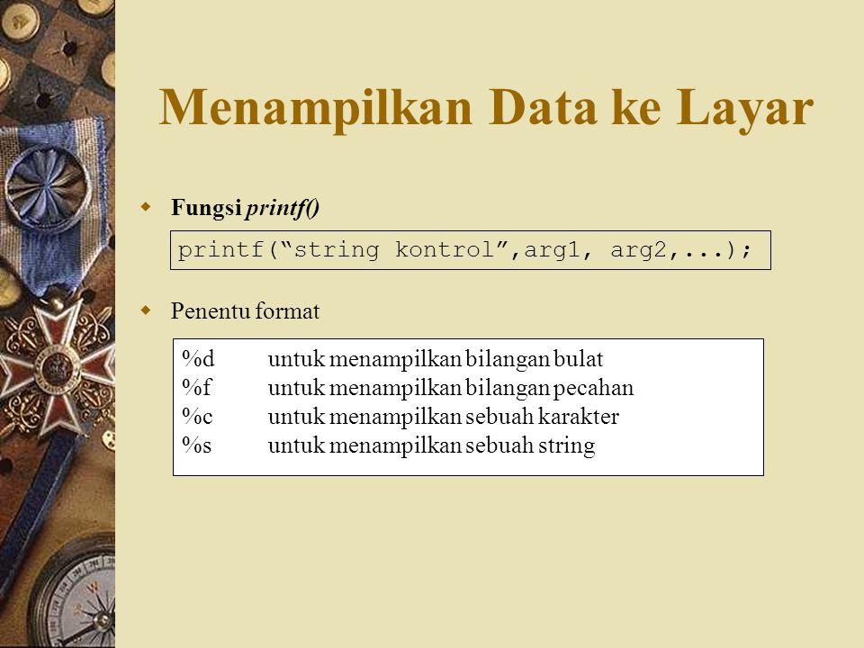 Menampilkan Data ke Layar  Fungsi printf()  Penentu format printf( string kontrol ,arg1, arg2,...); %duntuk menampilkan bilangan bulat %funtuk menampilkan bilangan pecahan %cuntuk menampilkan sebuah karakter %suntuk menampilkan sebuah string