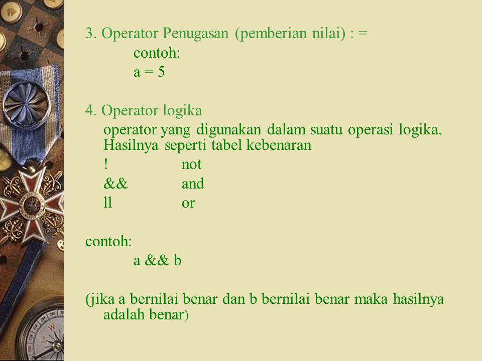 3. Operator Penugasan (pemberian nilai) : = contoh: a = 5 4. Operator logika operator yang digunakan dalam suatu operasi logika. Hasilnya seperti tabe