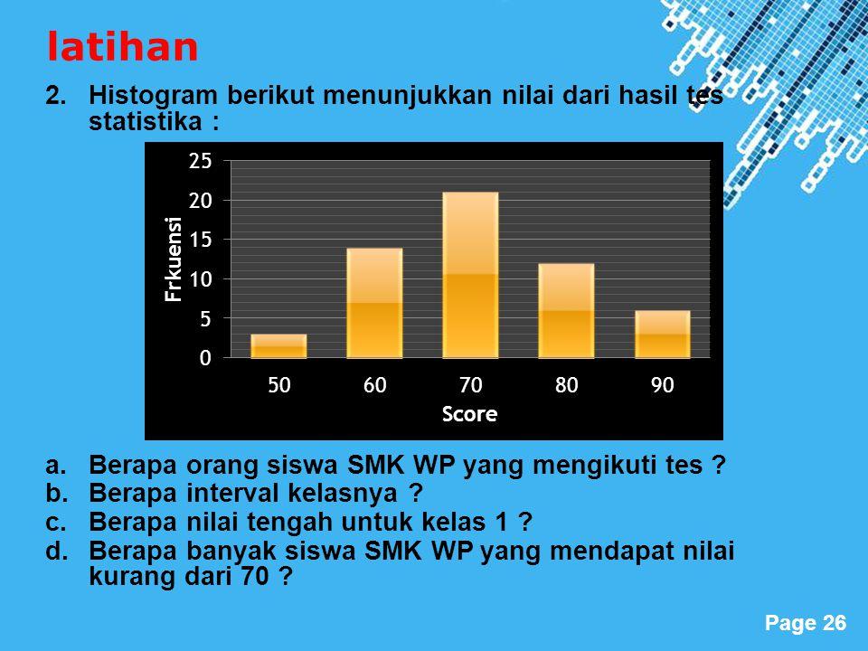 Powerpoint Templates Page 26 latihan 2.Histogram berikut menunjukkan nilai dari hasil tes statistika : a.Berapa orang siswa SMK WP yang mengikuti tes .