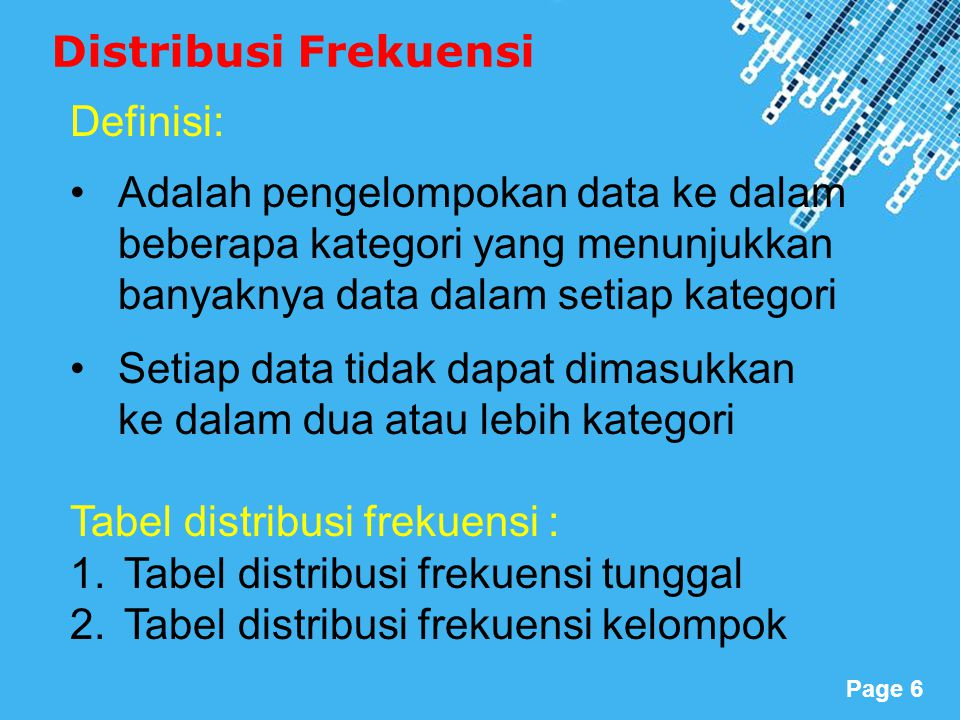 Powerpoint Templates Page 6 Distribusi Frekuensi Definisi: Adalah pengelompokan data ke dalam beberapa kategori yang menunjukkan banyaknya data dalam setiap kategori Setiap data tidak dapat dimasukkan ke dalam dua atau lebih kategori Tabel distribusi frekuensi : 1.Tabel distribusi frekuensi tunggal 2.Tabel distribusi frekuensi kelompok