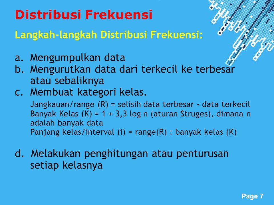 Powerpoint Templates Page 8 Definisi: Frekuensi Relatif adalah frekuensi relatif setiap kelas dibandingkan dengan frekuensi totalnya.