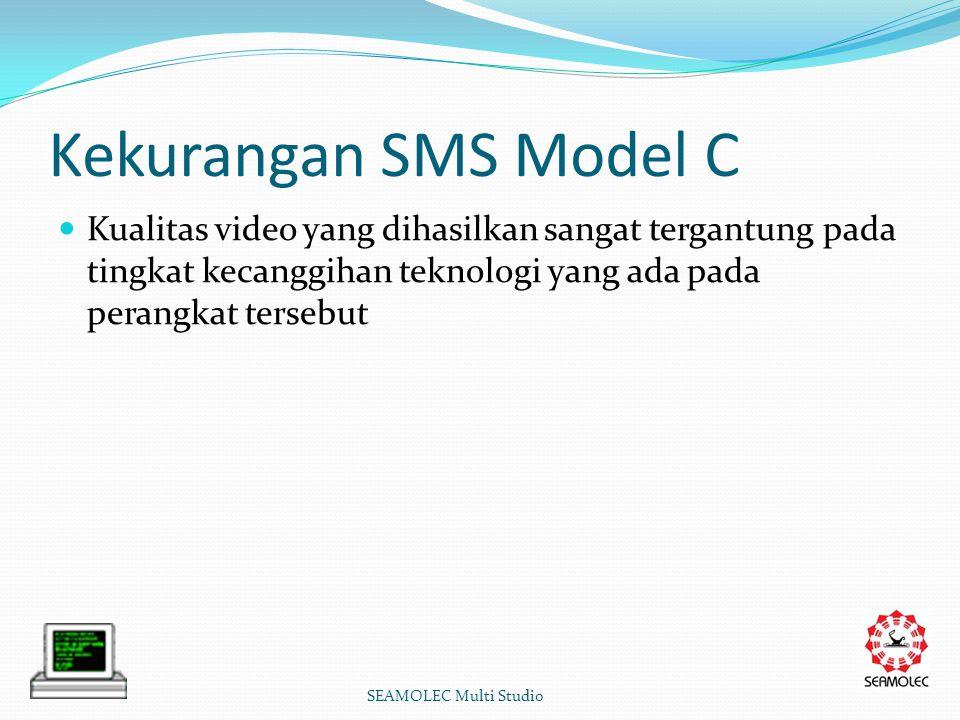 Kekurangan SMS Model C Kualitas video yang dihasilkan sangat tergantung pada tingkat kecanggihan teknologi yang ada pada perangkat tersebut SEAMOLEC Multi Studio