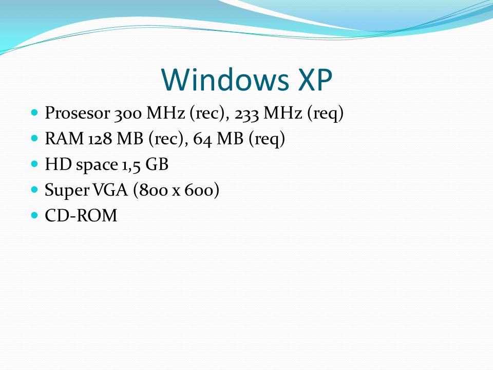 Windows XP Prosesor 300 MHz (rec), 233 MHz (req) RAM 128 MB (rec), 64 MB (req) HD space 1,5 GB Super VGA (800 x 600) CD-ROM