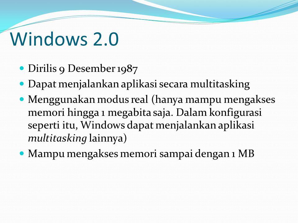 Windows 2.0 Dirilis 9 Desember 1987 Dapat menjalankan aplikasi secara multitasking Menggunakan modus real (hanya mampu mengakses memori hingga 1 megab