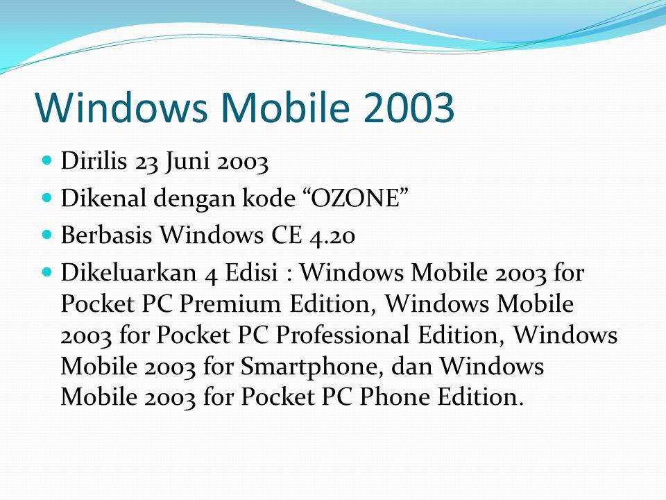 """Windows Mobile 2003 Dirilis 23 Juni 2003 Dikenal dengan kode """"OZONE"""" Berbasis Windows CE 4.20 Dikeluarkan 4 Edisi : Windows Mobile 2003 for Pocket PC"""