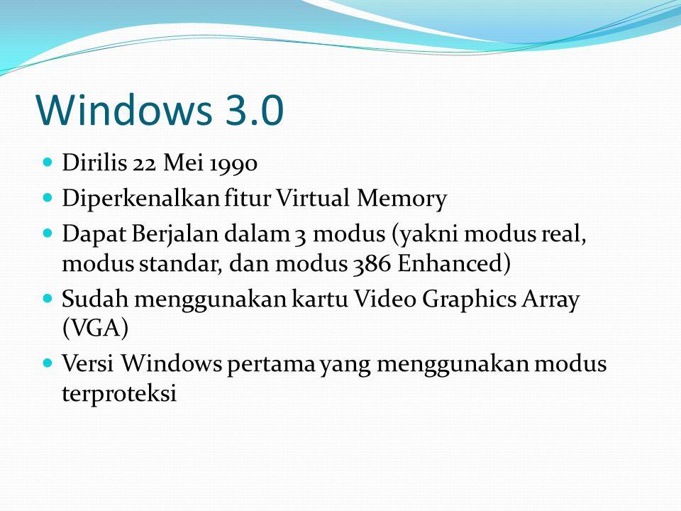 Windows Server 2003 Dirilis 25 April 2003 Digunakan untuk komputer ber-basis server, dengan dihilangkannya beberapa fitur, dengan alasan kestabilan Fitur keamanan yang baru, pemandu Manage Your Server wizard yang menyederhanakan peranan sebuah mesin yang menjalankannya, dan juga peningkatan kinerja Menggunakan kernel NT 5.2