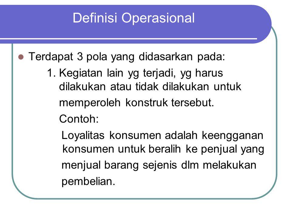 Definisi Operasional Terdapat 3 pola yang didasarkan pada: 1. Kegiatan lain yg terjadi, yg harus dilakukan atau tidak dilakukan untuk memperoleh konst