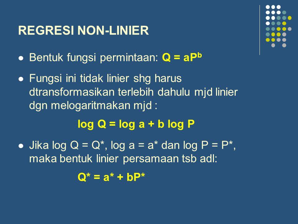REGRESI NON-LINIER Bentuk fungsi permintaan: Q = aP b Fungsi ini tidak linier shg harus dtransformasikan terlebih dahulu mjd linier dgn melogaritmakan mjd : log Q = log a + b log P Jika log Q = Q*, log a = a* dan log P = P*, maka bentuk linier persamaan tsb adl: Q* = a* + bP*