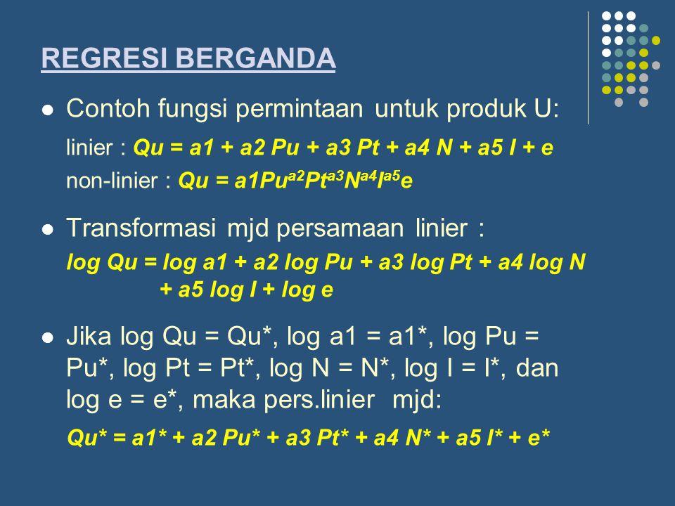 REGRESI BERGANDA Contoh fungsi permintaan untuk produk U: linier : Qu = a1 + a2 Pu + a3 Pt + a4 N + a5 I + e non-linier : Qu = a1Pu a2 Pt a3 N a4 I a5 e Transformasi mjd persamaan linier : log Qu = log a1 + a2 log Pu + a3 log Pt + a4 log N + a5 log I + log e Jika log Qu = Qu*, log a1 = a1*, log Pu = Pu*, log Pt = Pt*, log N = N*, log I = I*, dan log e = e*, maka pers.linier mjd: Qu* = a1* + a2 Pu* + a3 Pt* + a4 N* + a5 I* + e*