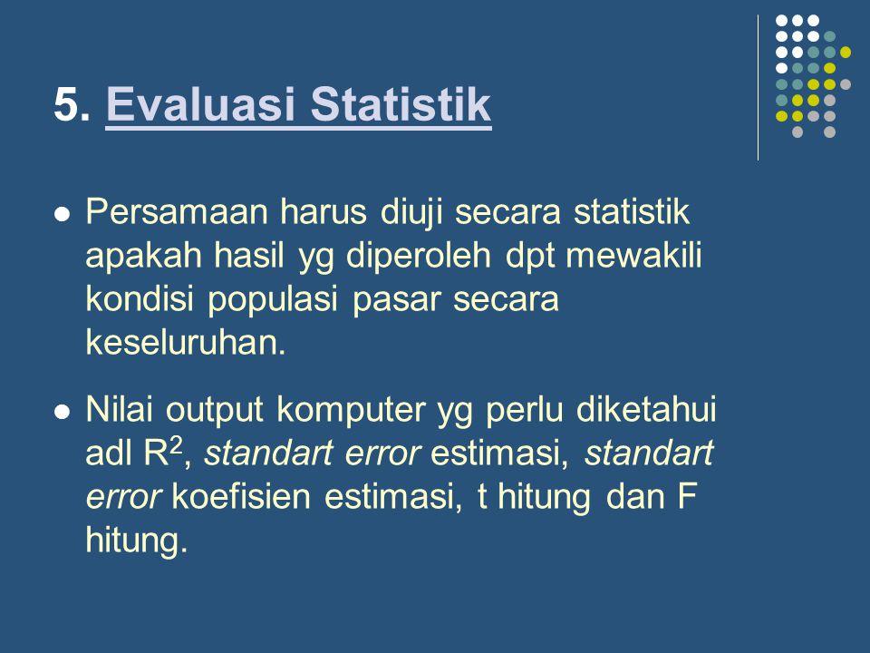 5. Evaluasi StatistikEvaluasi Statistik Persamaan harus diuji secara statistik apakah hasil yg diperoleh dpt mewakili kondisi populasi pasar secara ke