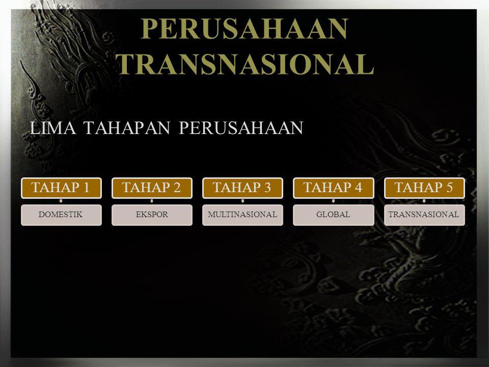 PERUSAHAAN TRANSNASIONAL LIMA TAHAPAN PERUSAHAAN TAHAP 1 DOMESTIK TAHAP 2 EKSPOR TAHAP 3 MULTINASIONAL TAHAP 4 GLOBAL TAHAP 5 TRANSNASIONAL